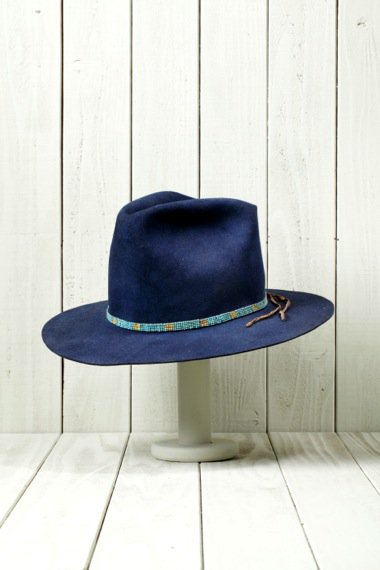 Cross Design Beaver Felt Hat Navy