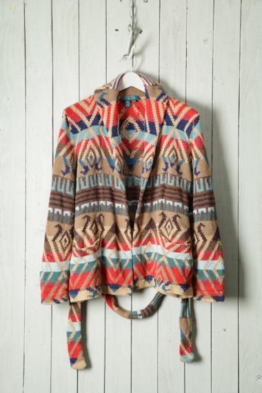Hand Knit Shawl Collar Native Design Beige