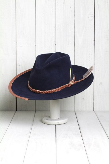 Navy Hat Feather&Leather Ribbon