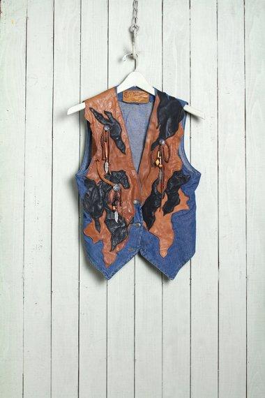 Denim&Leather Vest Native Style