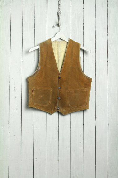 LEVI'S Shorthorn Suede Leather Vest Beige