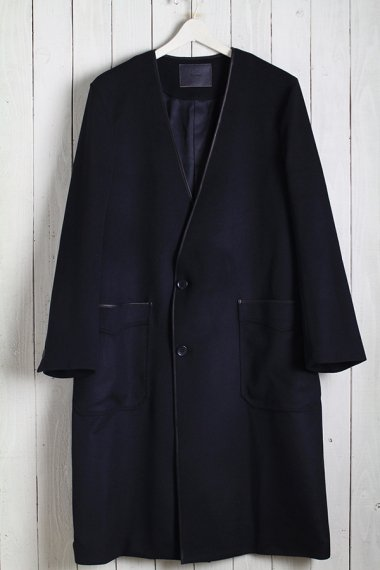 19AW Collarless Piping Coat -Beaver Wool-