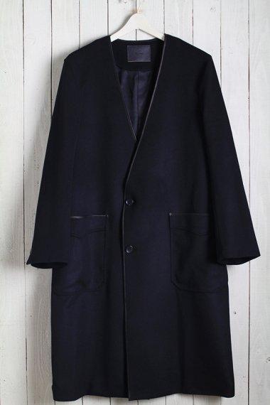 19AW Collarless Piping Coat -Beaver Wool-