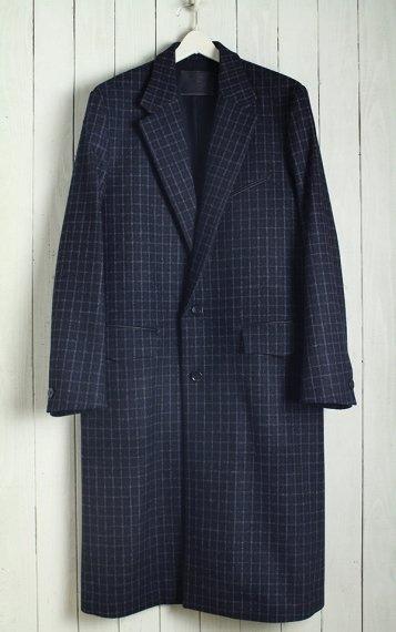 19AW Single Chesterfield Coat -Melton Wool Check-