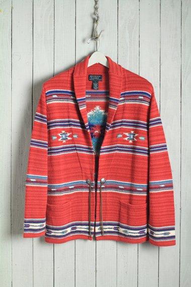 Hand Knit Shawl Collar Red