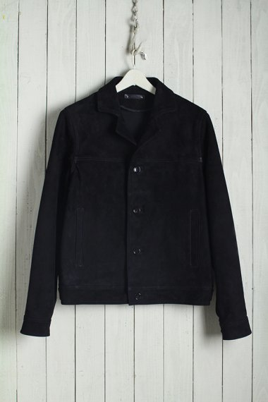 19AW Suede Leather Denim 4B JKT BLK