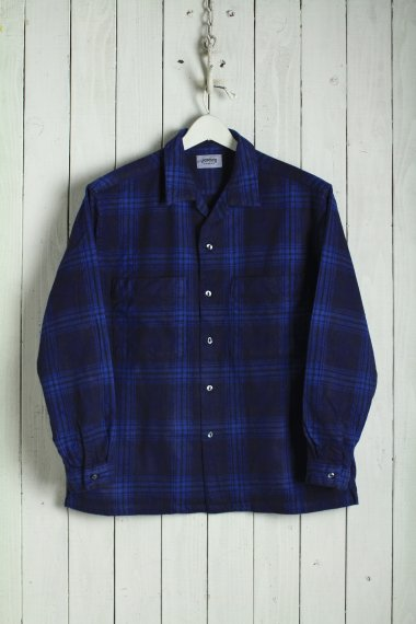 19AW Ombre Check Open Collar Shirts Blue