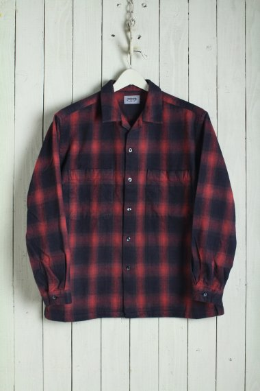 19AW Ombre Check Open Collar Shirts Red