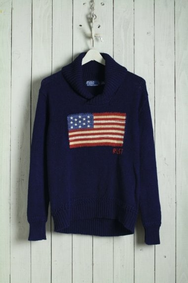 Hand Knit American Flag Shawl Collar