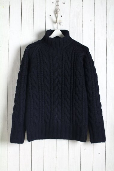 JOHN'S×LOCKWOOD Cable Turtle Neck Knit Black