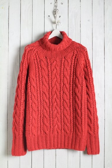 JOHN'S×LOCKWOOD Cable Turtle Neck Knit Red