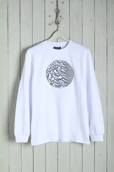 PLEASURES by Joy Division Lost Control Embroidered Premium L/S Tee White