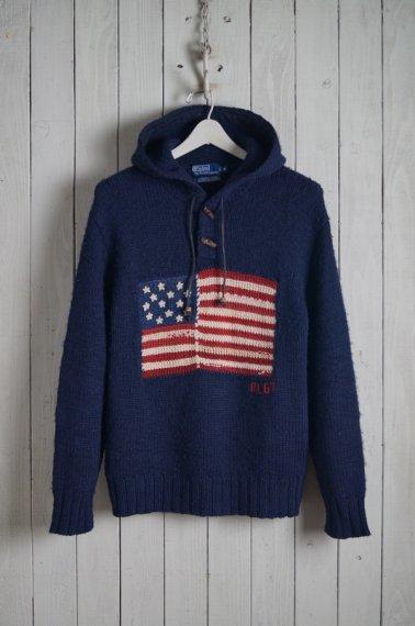 Hand Knit American Flag Hoodie