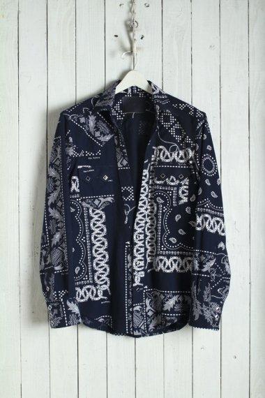 20SS Western Cutting Shirt -Bandanna Flannel- Black