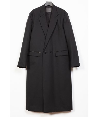 21SS DOUBLE BREASTED CHESTERFILED COAT -Randam Stripe- BLACK