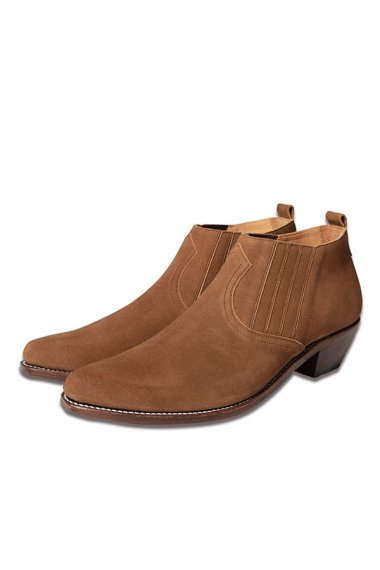 21AW WESTERN MIDCUT SIDEGORE BOOTS -COWHIDE SUEDE- CAMEL