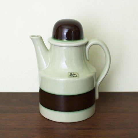SWEDEN HOGANAS BROWN/GREEN LINE COFFEE POT