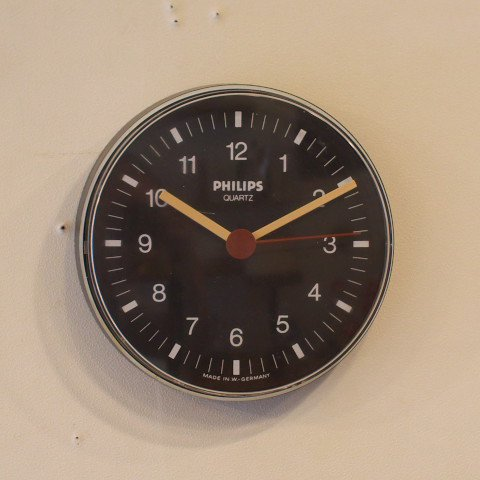 WEST GERMANY PHILIPS BLACK PLASTIC CLOCK