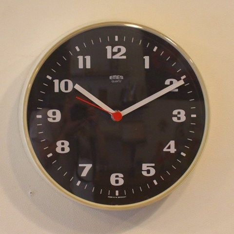 WEST GERMANY EMES WHITE/BLACK PLASTIC CLOCK