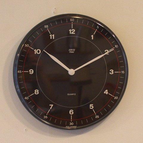 WEST GERMANY HWH time BLACK PLASTIC CLOCK