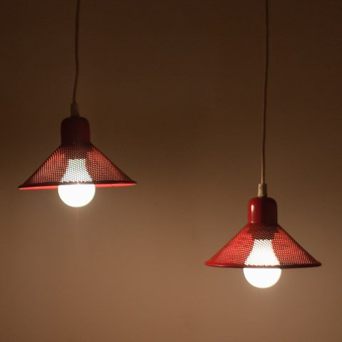 DENMARK RED PUNCHING METAL SHADE LAMP SET