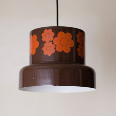 DENMARK FOG&MORUP BROWN/ORANGE FLOWER SHADE LAMP