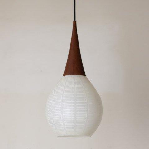 DENMARK MILKY WHITE GLASS/TEAK TOP  LAMP