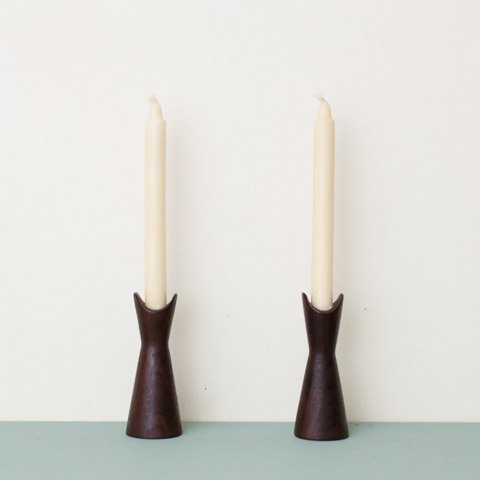 SWEDEN SMALL TEAK CANDLE HOLDER SET