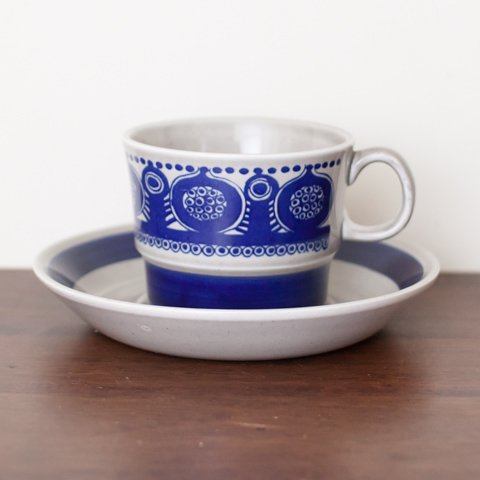 NORWAY STAVANGERFLINT GREY/BLUE TEA CUP&SAUCER