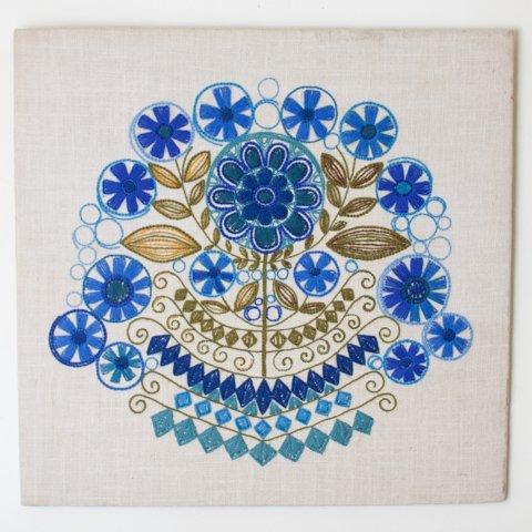 SWEDEN FLOWER EMBROIDERED PANEL