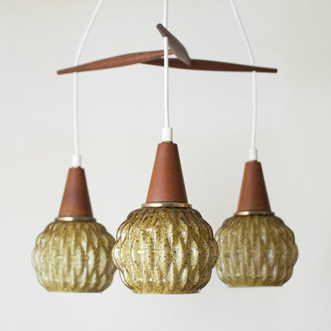 DENMARK TRIPLE GLASS LAMP W/TEAK PARTS