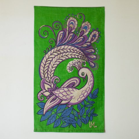 SWEDEN LM. GREEN/PURPLE GOLD BIRD TAPESTRY