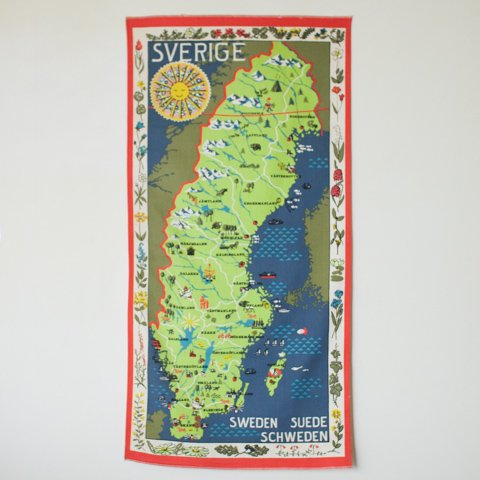 SWEDEN (SVERIGE) MAP TAPESTRY