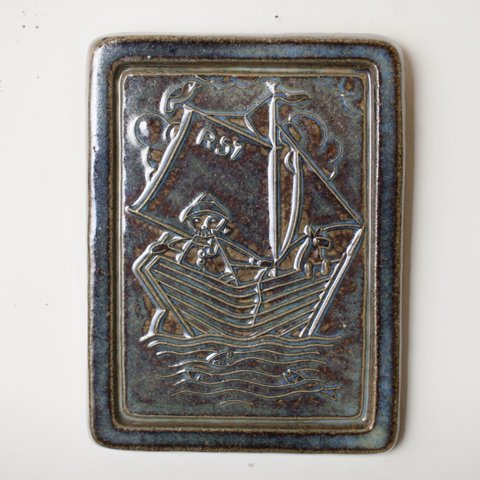 DENMARK SOHOLM FISHERMAN WITH DOG PLAQUE