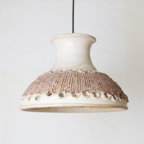 DENMARK BEIGE/BROWN CERAMIC SHADE PENDANT LAMP