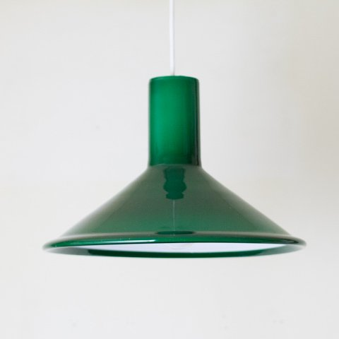 DENMARK HOLMEGAARD GREEN GLASS SHADE LAMP(P&T PENDEL)