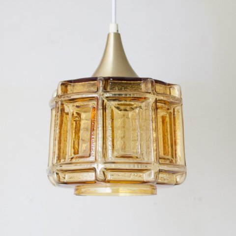 DENMARK AMBER GLASS DOUBLE SHADE LAMP