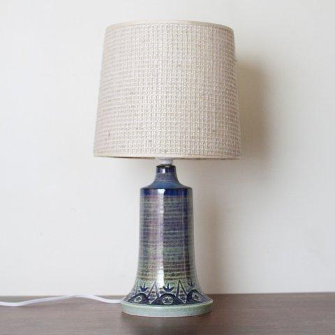DENMARK SOHOLM BLUE/LT.BLUE STRIPED PATTERN CERAMIC BASE TABLE LAMP