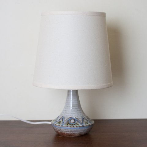 DENMARK SOHOLM LT.GREY/LT.BLUE PATTERN CERAMIC BASE TABLE LAMP