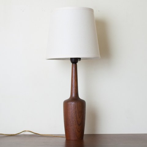DENMARK SOLID TEAK ORGANIC FORM TALL TABLE LAMP