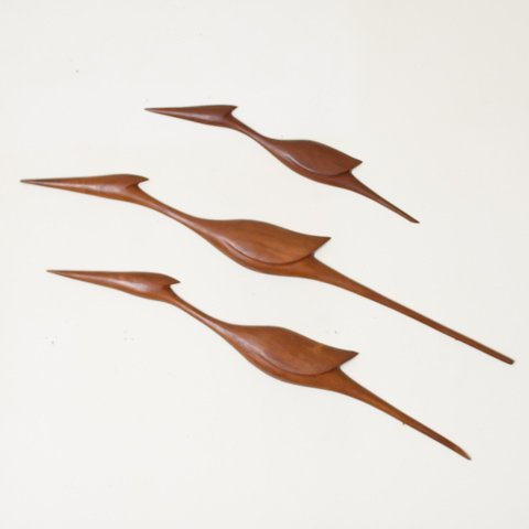DENMARK SOLID TEAK FAMILY BIRDS OBJECT