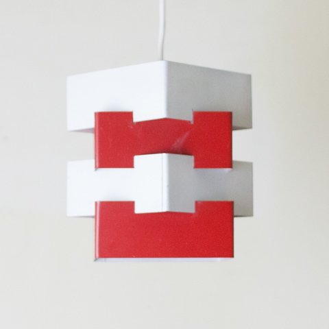 SWEDEN WHITE/RED SQUARE 4 SHADES LAMP