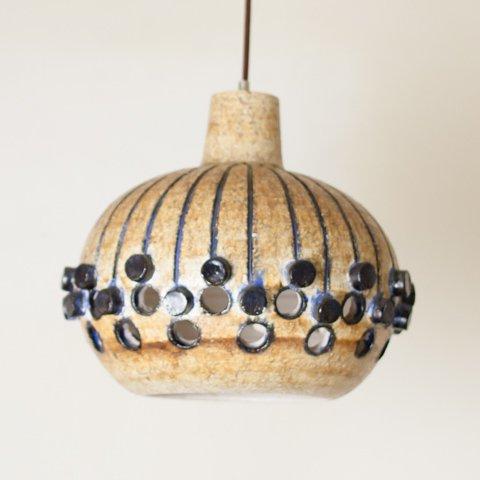 DENMARK LT.BROWN/NAVY BLUE CERAMIC SHADE PENDANT LAMP
