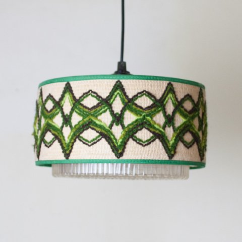 SWEDEN JUTE/GREEN PATTERN SHADE PENDANT LAMP