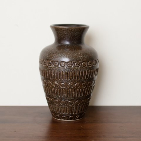 W.GERMANY CHOCOLATE BROWN VASE FROM DENMARK