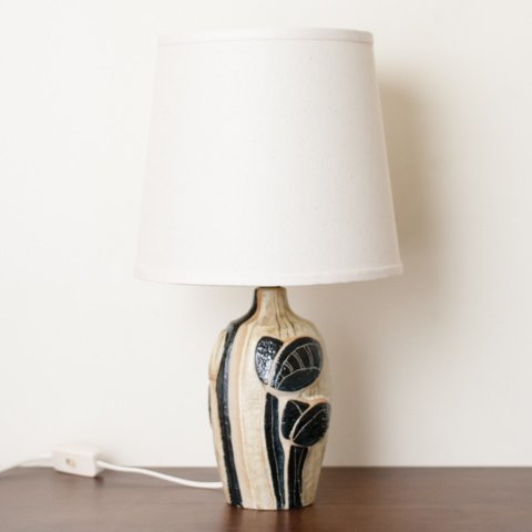 DENMARK SOHOLM BEIGE/BLACK/TERRA COTTA  BASE TABLE LAMP