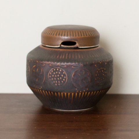 ARABIA FINLAND FRUITS PATTERN BROWN JAM POT