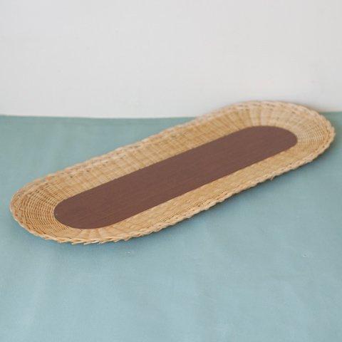 SWEDEN RATTAN/WOOD OVAL TRAY(DARK COLOR)