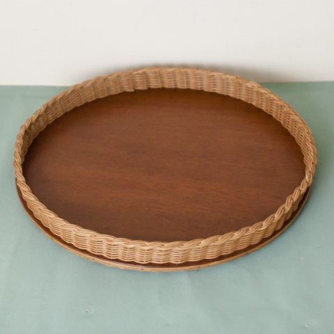 SWEDEN RATTAN/WOOD ROUND TRAY(TEAK COLOR)