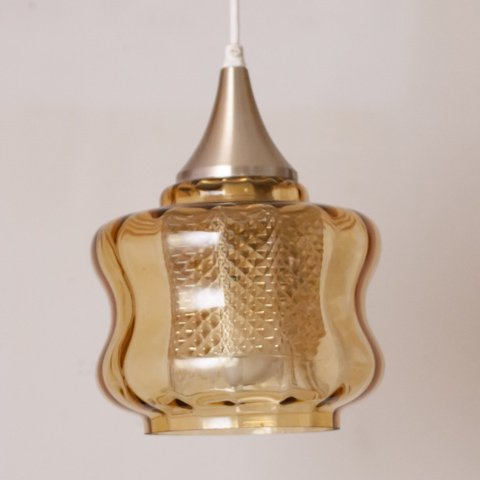 DENMARK AMBER GLASS DOUBLE SHADE PENDANT LAMP